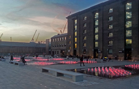 Caravan Kings Cross, Granary Square in the Evening